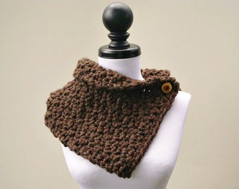Crocheted Cowl Scarf - Lucienne Cowl Wood Brown Tweed Brown Cowl Brown Scarf Womens Accessories - READY TO SHIP