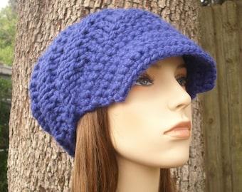 Cobalt Blue Newsboy Hat Womens Hat Blue Hat Blue Beanie - Swirl Beanie with Visor Blue Knit Hat - Womens Accessories Winter Hat