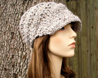 Marble Grey Newsboy Hat Chunky Knit Hat Womens Hat - Swirl Beanie with Visor - Grey Knit Hat Grey Hat Grey Beanie Womens Accessories