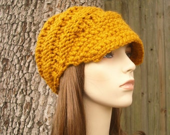 Knit Hat Womens Hat Mustard Newsboy Hat - Swirl Beanie with Visor in Mustard Yellow Knit Hat - Mustard Hat Mustard Beanie Womens Accessories