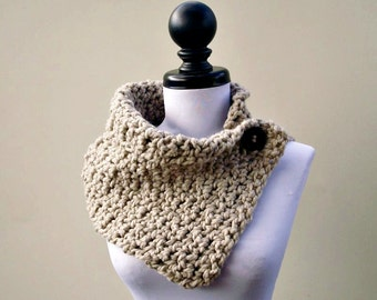 Crocheted Cowl Scarf - Lucienne Cowl in Cream Linen - Cream Scarf Cream Cowl Linen Scarf Linen Cowl Womens Accessories