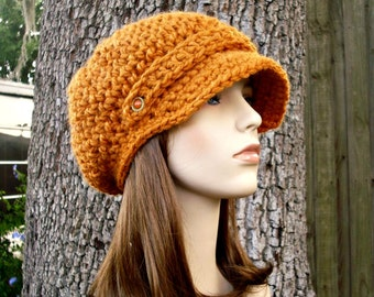 Crochet Hat Womens Hat Orange Newsboy Hat - Crochet Newsboy Hat in Apricot Orange Crochet Hat - Orange Hat Womens Accessories
