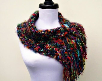 Crocheted Rainbow Cowl Rainbow Scarf - Scarflette Cowl in Metropolis - Womens Scarf Womens Cowl Womens Accessories