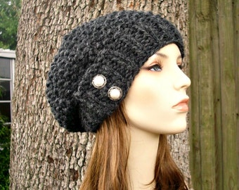 Charcoal Grey Beret Knit Hat Grey Womens Hat - Seed Beret Hat Chunky Knit - Grey Hat Grey Beret Grey Beanie Womens Accessories