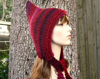 Knit Hat Red Womens Hat - Red Pixie Hat in Red Wine Stripes Knit Hat - Red Hat Womens Accessories Winter Hat