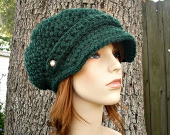 Pine Green Newsboy Hat Crochet Hat Womens Hat - Crochet Newsboy Hat - Green Hat Green Beanie Womens Accessories