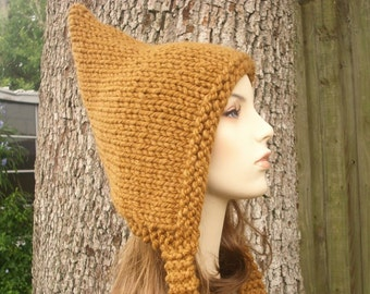 Knit Hat Brown Womens Hat - Brown Pixie Hat in Hazelnut Brown Knit Hat - Brown Hat Brown Ear Flap Hat Womens Accessories Winter Hat