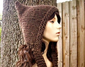Brown Pixie Hat Wood Brown Knit Hat Brown Womens Hat - Brown Hat Brown Ear Flap Hat Womens Accessories Fall Fashion Winter Hat