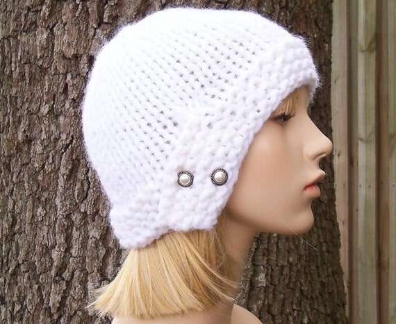Hand Knit Hat - Chunky Cloche Hat in Snow White