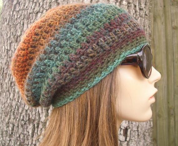 Crochet Hat Womens Hat Slouchy Beanie - Weekender Slouchy Hat in Arcadia Brown Rust Teal Crochet Hat - Womens Accessories Winter Hat