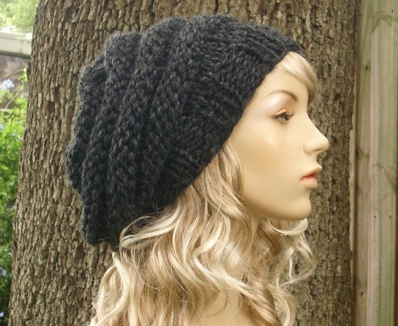 Grey Womens Hat Oversized Beehive Beret Hat Charcoal Grey