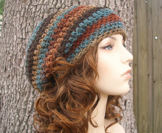 Crochet Hat Womens Hat Slouchy Beanie - Weekender Slouchy Hat in Rust Brown Teal Crochet Hat - Womens Accessories