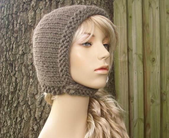 Knit Hat Womens Hat - Pixie In Training Aviator Cap in Taupe Brown Knit Hat - Taupe Hat Brown Hat Brown Hood Womens Accessories Winter Hat