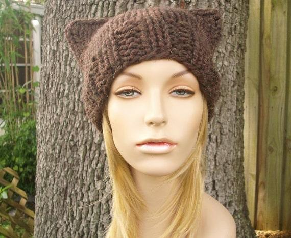 Knit Hat Brown Womens Hat - Brown Cat Beanie Hat Tweed Brown Knit Hat - Brown Hat Brown Beanie Brown Cat Hat Womens Accessories Winter Hat