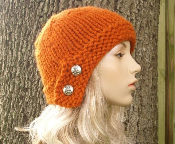 Knit Hat Womens Hat - Cloche Hat in Pumpkin Orange Knit Hat - Womens Accessories Winter Hat