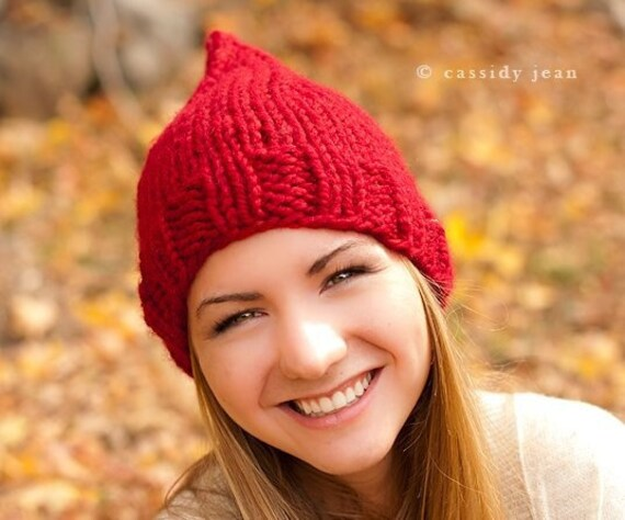 Knit Hat Red Womens Hat Red Hat - Red Gnome Hat in Cranberry Red Knit Hat - Womens Accessories Winter Hat - READY TO SHIP