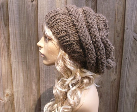 Knit Hat Brown Womens Hat - Oversized Beehive Beret Hat in Barley Brown Knit Hat - Brown Hat Brown Beret Brown Beanie  Womens Accessories