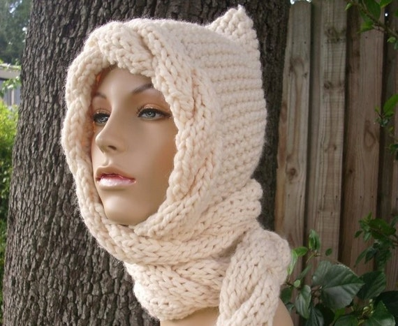 Knitting Pattern For Ladies Hat And Scarf : Cream Womens Hat Cream Ear Flap Hat Cream Cable Scarf Hat