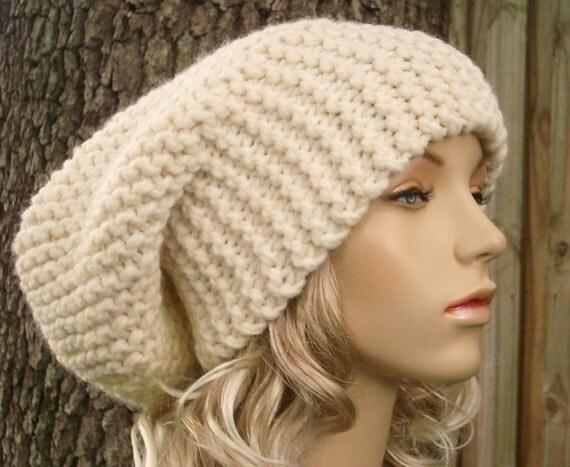 Cream Womens Hat Cream Slouchy Beanie - Cream Slouchy Hat Cream Knit Hat - Cream Hat Cream Beanie Womens Accessories Winter Hat