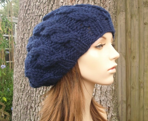 Navy Blue Cable Beret Navy Blue Knit Hat - Blue Womens Hat Blue Hat Blue Beret Blue Beanie Navy Beret Womens Accessories