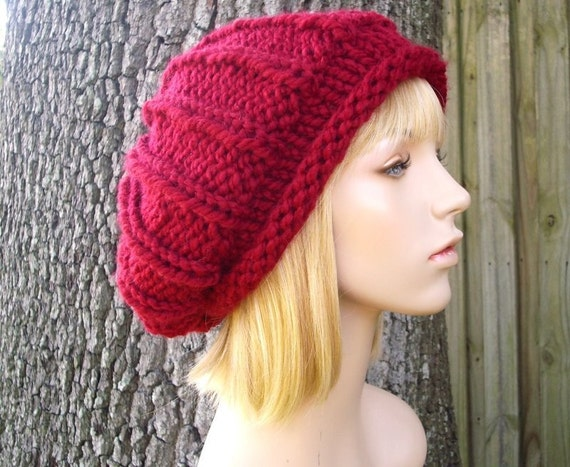 Cranberry Red Beret Womens Hat - Rolled Brim Ribbed Beret Hat Chunky Knit Hat - Red Hat Red Beanie Red Knit Hat Womens Accessories