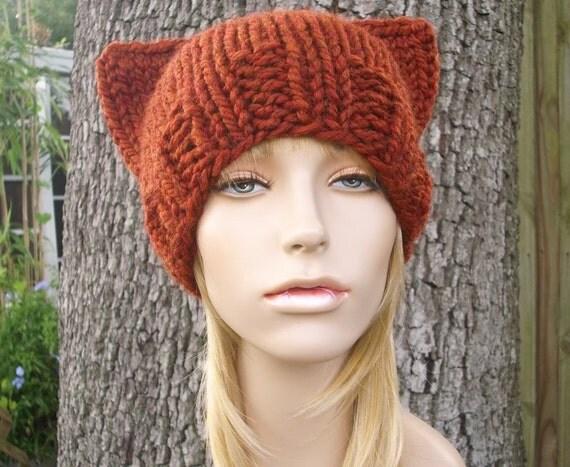 Knit hat orange womens hat cat beanie hat in rust orange - Free cat hat knitting pattern ...