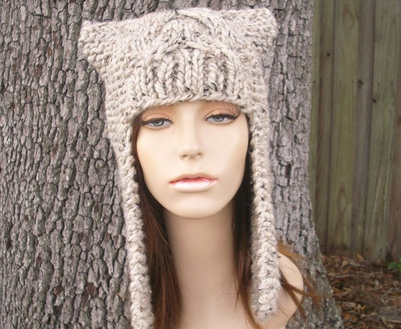 Oatmeal Ear Flap Hat Chunky Knit Hat Womens Hat - Dragon Slayer Cat Hat - Oatmeal Hat Oatmeal Beanie Womens Accessories Winter Hat