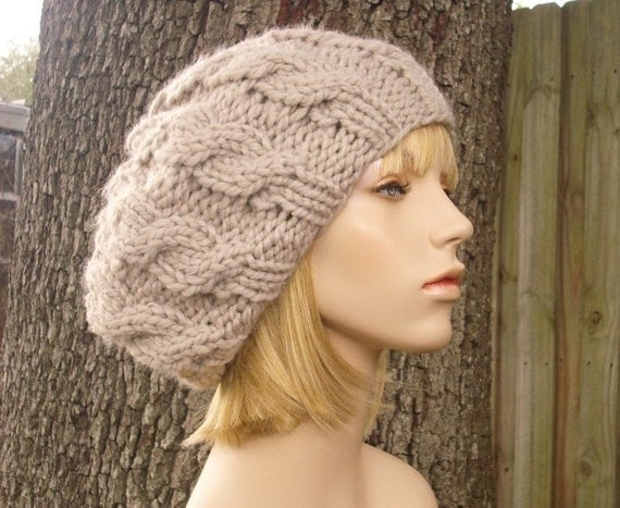 Cable Beret Knitting Pattern : Knit Hat Womens Hat Cable Beret Hat in Cream Linen Knit Hat