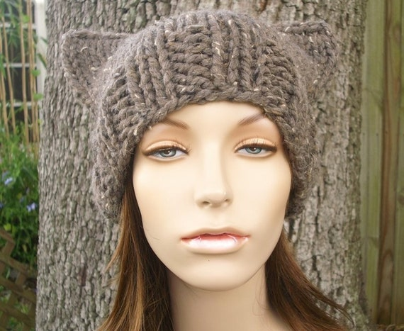 Knit Hat Womens Hat - Cat Beanie Hat in Barley Tweed Brown Knit Hat - Brown Hat Brown Beanie Brown Cat Hat Womens Accessories Winter Hat