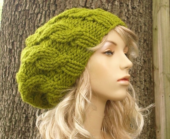 Knit Hat Womens Hat Slouchy Beanie - Cable Beret Hat in Lemongrass Green Knit Hat - Green Hat Green Beret Womens Accessories