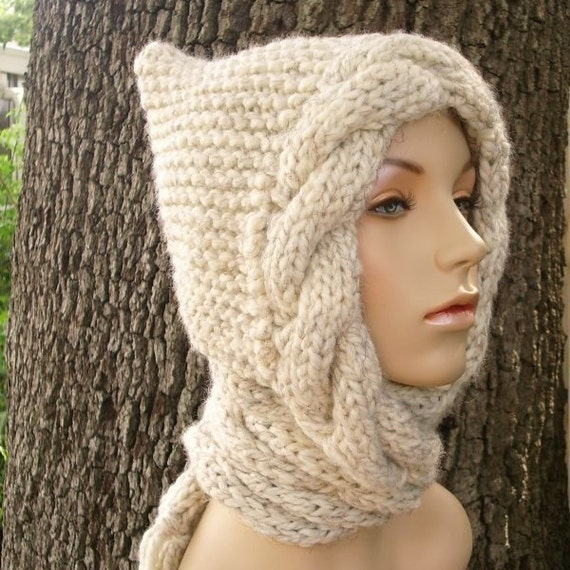 Knit Hat Womens Hat - Wheat Cable Scarf Hat Wheat Hooded Scarf Knit Hat - Wheat Scarf Wheat Hat Womens Accessories