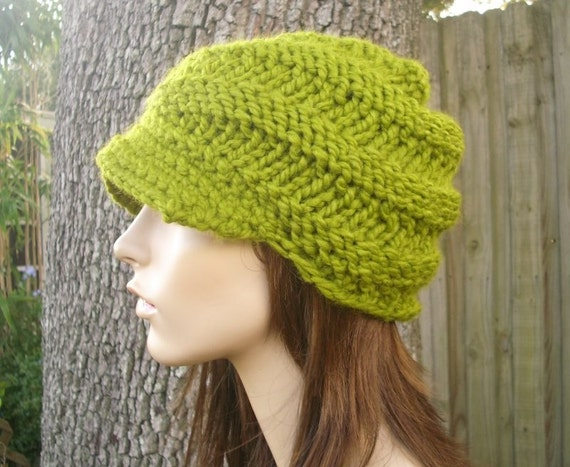 Green Newsboy Hat Womens Hat - Swirl Beanie with Visor in Lemongrass Green Knit Hat Green Hat Womens Accessories - READY TO SHIP