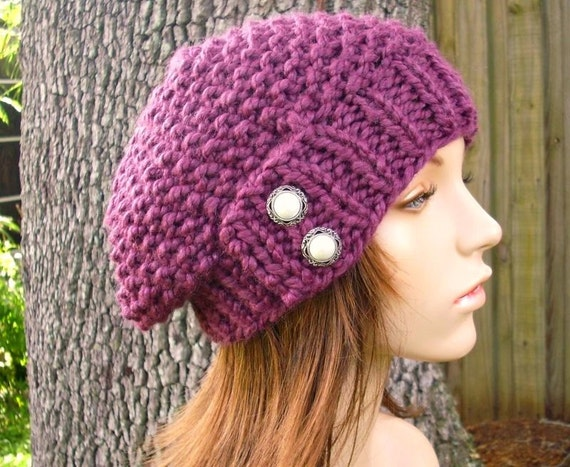 Purple Beret Knit Hat Womens Hat - Seed Beret Hat Fig Purple Knit Hat - Purple Hat Purple Beanie Womens Accessories