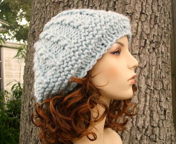 Blue Womens Hat Big Rasta Thumb Cable Beret Hat Glacier Blue