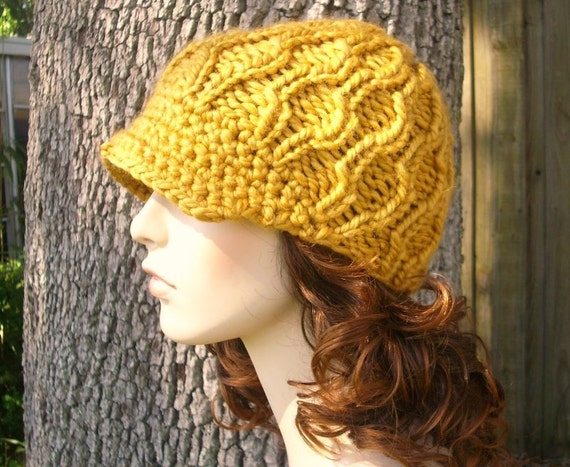 Hand Knit Hat Womens Hat - The Amsterdam Beanie with Visor in Goldenrod - Winter Fashion Winter Accessories Chunky Knit