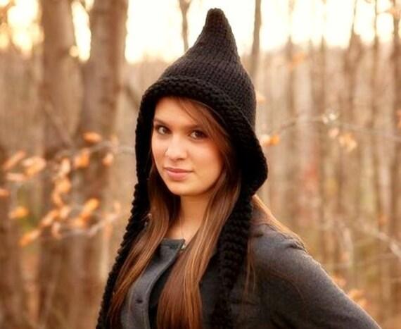Black Womens Hat - Black Pixie Hat Black Knit Hat - Black Hat Black Ear Flap Hat Chunky Knit Hat Womens Accessories Fall Fashion Winter Hat