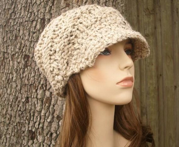 Oatmeal Newsboy Hat Oatmeal Knit Hat Oatmeal Womens Hat - Swirl Beanie with Visor - Oatmeal Hat Oatmeal Beanie Womens Accessories