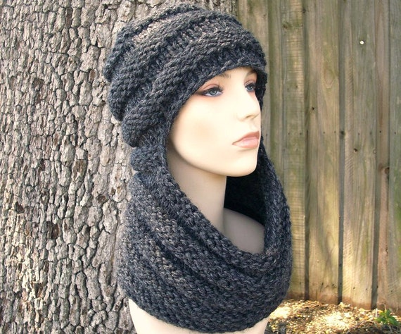 Knit Hat Womens Hat - Zhivago Cowl Scarf Hat in Charcoal Grey Knit Hat - Grey Hat Grey Cowl Grey Scarf Grey Hood Womens Accessories