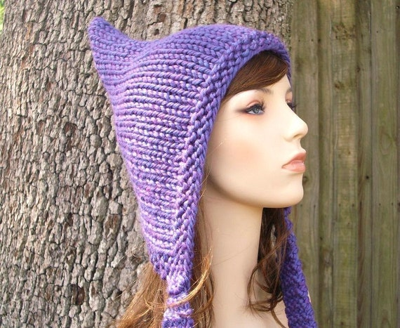 Knitting Pixie Hat Free Pattern : Knit Hat Womens Hat Purple Pixie Hat Violet Purple Knit Hat