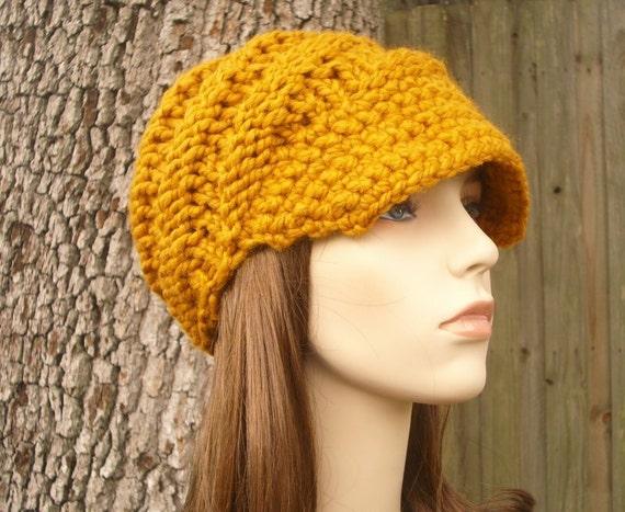 Knit Hat Womens Hat Mustard Newsboy Hat - Swirl Beanie with Visor in Mustard Yellow Knit Hat - Mustard Hat Mustard Beanie Womens Accessories