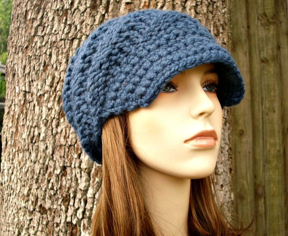 Knit Hat Blue Womens Hat Blue Newsboy Hat - Swirl Beanie with Visor in Denim Blue Knit Hat - Blue Hat Blue Beanie Womens Accessories