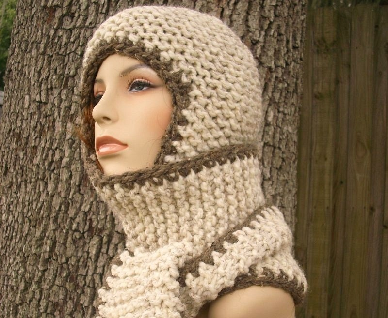 Knitting Patterns Scarves And Hats : Womens Hat Garter Nomad Chunky Scarf Ear Flap Hat Wheat