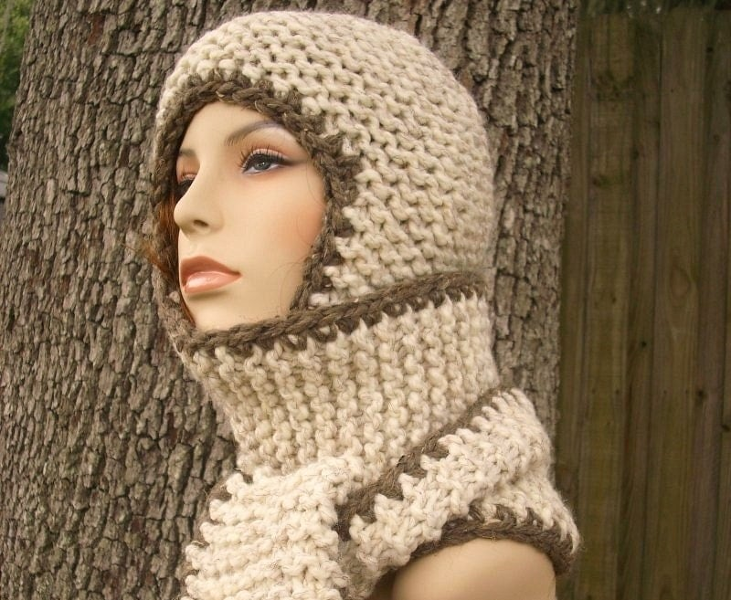 Womens Hat Garter Nomad Chunky Scarf Ear Flap Hat Wheat