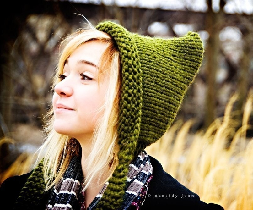 Knitting Pattern For Pixie Hat : Knit Hat Womens Olive Green Pixie Hat Womens Accessories Fall
