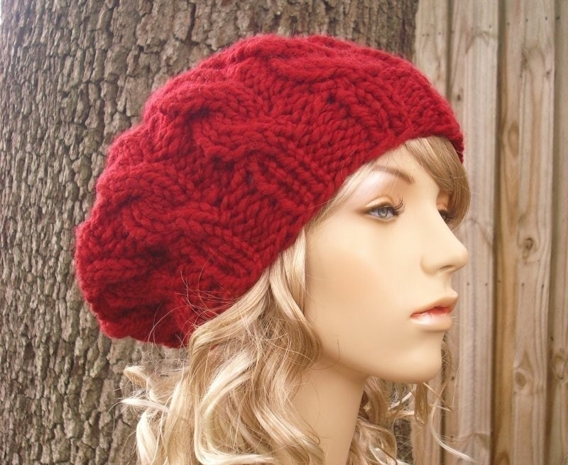 Knitting Patterns For Berets And Hats : PDF Knitting Pattern for The Cable Beret Free Shipping