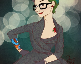 Rad Chick in Hipster Glasses and Damask