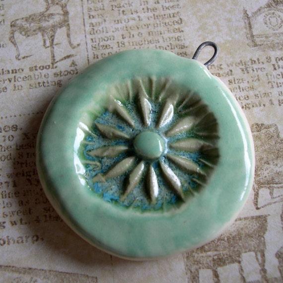 Aqua, Aqua Pale Blue Green Ceramic Focal Pendant