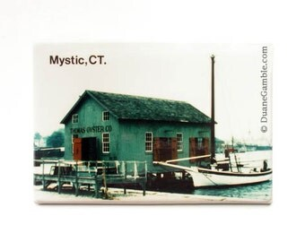 Mystic, CT., Oyster Sloop, Refrigerator Magnet, New England Gift