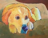 OSWOA Labrador Dog Art Oil Painting a Day Eliza