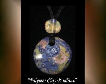 Handmade Polymer Clay Pendant OOAK Wearable Art